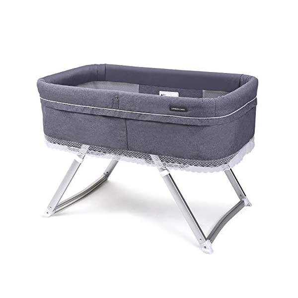 VISTANIA Baby Crib, Foldable Compact Travel Cot 0-6 Months,Gray  baby with a soft and comfortable place to sleep at any time: at home, on vacation, or when visiting family. A deep comfortable fitted mattress will leave your baby feeling calm and relaxed, allowing them to slowly drift off to sleep, the soft airy full view mesh surround allows full breathability and visibility on your little one Lightweight durable modern design,weighs just 7kg, gives excellent portability from one room to the next 1