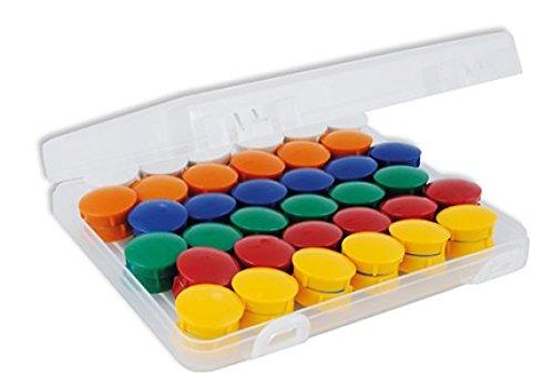 TimeTEX Set Haft-Magnete in Box - 72 Stück - je 12 Magnete in den Farben: gelb - rot - grün - blau - orange - weiß - rund - starke Magnethaftung - 93327