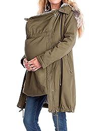 fuxinhe Abrigo de Mujer Embarazada, Desmontable Chaqueta Cremallera Chaqueta de Maternidad Bolsillo Chaqueta con Capucha Tamaño Grande