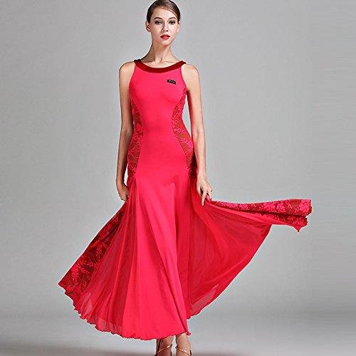 Modern Lady Big Pendel Velvet Ballroom Dance Dress Modern Dance Dress Tango Und Walzer Tanz Kleid Tanzwettbewerb Rock Nicht-Ärmel Spitzentanz - Red Velvet Kleid Kostüm
