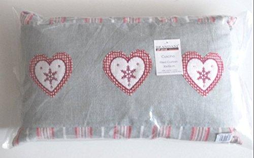 TXT BRANDANI Kissen Chambray mit 3Herzen auf Rand Streifen grau weiße und rote 30x 50cm -