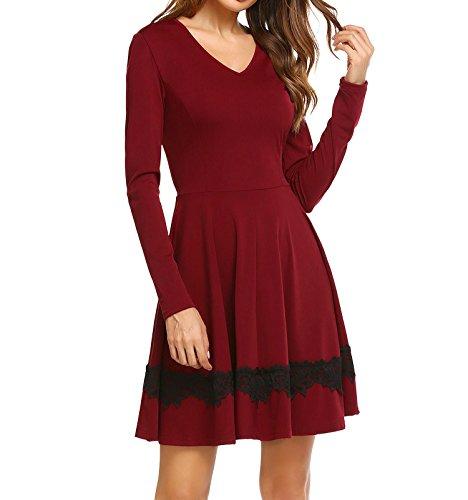 Keland Damen Elegant Kleid mit Spitze besetzt V-Ausschnitt Langarm A-Linien Knielang Casualkleid Partykleid Abendkleid Wein rot