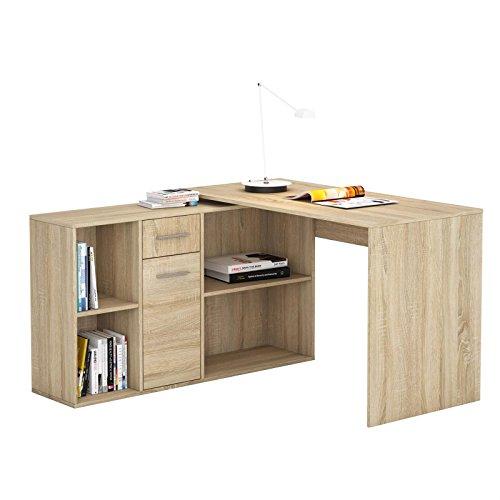 CARO-Möbel Schreibtisch Eckschreibtisch Computertisch Diego, in Sonoma Eiche, mit Regal, 120 x 75 x 121 cm, Kinderschreibtisch - Locher Trinken