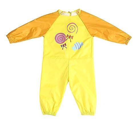 DAWNTUNG Enfants Siamois Vêtements pour Bébés,Garçons et Filles Blouse Peinture Etanche à L'eau Cartoon Vêtements Pointure XL(110cm-120cm) - Jaune de Sucette