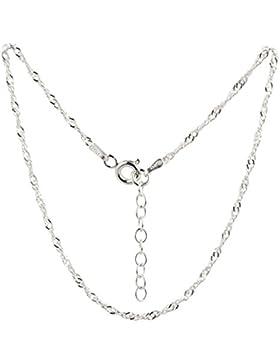 Fußkettchen, Fußkette aus 925 Sterling Silber als Fußschmuck für Damen und Mädchen, Länge 22 - 25cm, Modell 49