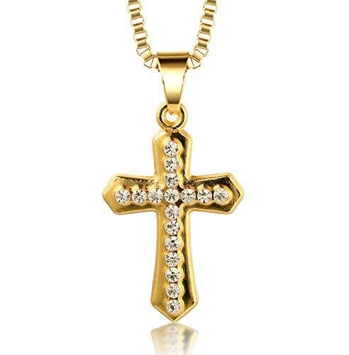 Halukakah ● Gold Segne Alle ● 18K Reines Gold überzogenes Kreuz hängende Halskette Cz-Einlegearbeit mit KOSTENLOSER Kasten Kette 30