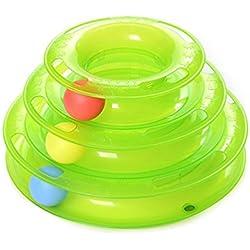 YOMMY® Juguete Mascotas para Gatos Juguetes Interactivo Juguete de Atracciones Plate Trilaminar Bola Torre de pistas YM-1366(Verde)