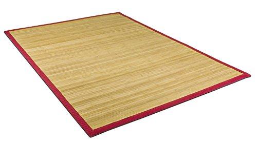 Bambusteppich natur unbehandelt mit roter Bordüre in verschiedenen Größen (150x150cm)