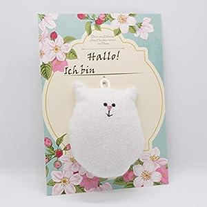 Glücksbringer in Katzenform (Filz, weiß) – Das perfekte Geschenk für Tierfreunde