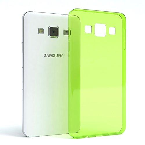 Samsung Galaxy A3 (altes Modell) Hülle - EAZY CASE Ultra Slim Cover TPU Handyhülle Matt - dünne Schutzhülle aus Silikon in Transparent / Weiß Clear Grün