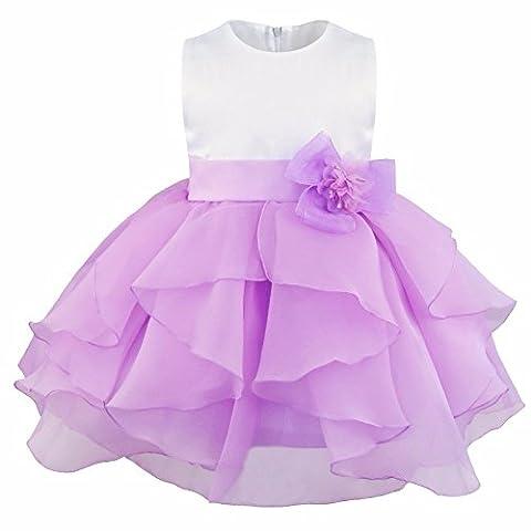 iEFiEL Baby Girls Flower Christening Wedding Birthday Ruffle Organza Tutu Dress Lavender 12-18