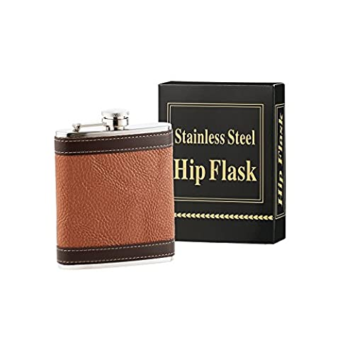 HEESUNG Premium Hip Flask For Men & Women - 18/8 Stainless Steel 7 oz Liquor Flask Wrapped With Brown Colour Shrink Leather whiskey flasks