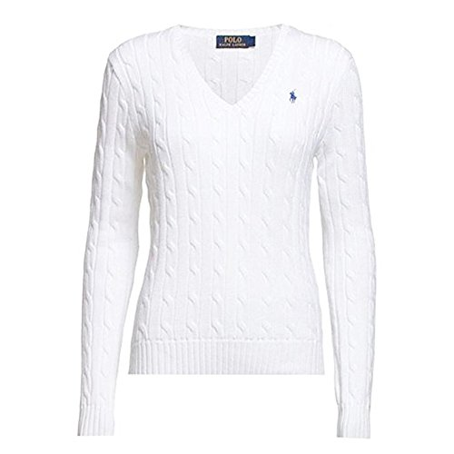 Polo Ralph Lauren Cable Knit V-Neck Cotton Pullover Kimberly XL Weiß (Knit Cable Sweater Lauren Ralph)