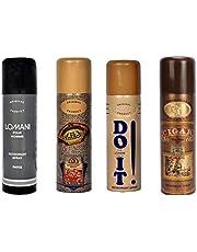 Lomani Men's Deodorant, 200ml - Pour Homme, El Paso, Do It and Latour Cigar (Pack of 4)