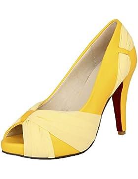 VogueZone009 donna,materiale morbido PU pure scarpe a punta aperta coi tacchi alti,rosso fondo