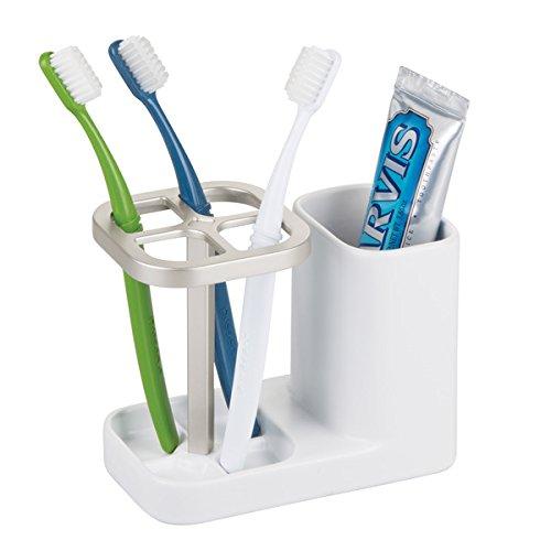 MetroDecor mDesign Bicchiere portaspazzolini ? Porta spazzolini di Alta qualità per lavandino o mobiletto Bagno ? Salvaspazio per dentifricio e spazzolini da Denti ? Bianco