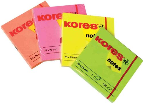 kores-notes-adhesives-repositionnable-75-x-75-mm-100f-jaune-neon