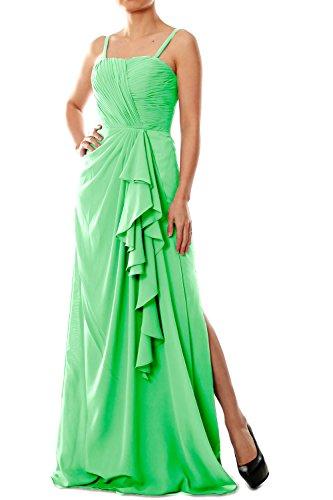 MACloth Women Spaghetti Straps Long Chiffon Bridesmaid Dress Formal Evening Gown Minze