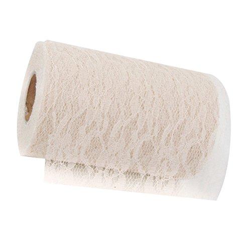 Spitze Roll Nähen Handwerk Spitzen Folienrolle für Home Hochzeit Dekor Beige (Billige Sackleinen-stoff)