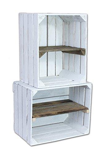 2-x-blanc-ancien-caisse-a-fruits-gebraucht-gestrichen-avec-entre-le-sol-caisses-en-bois-avec-etagere