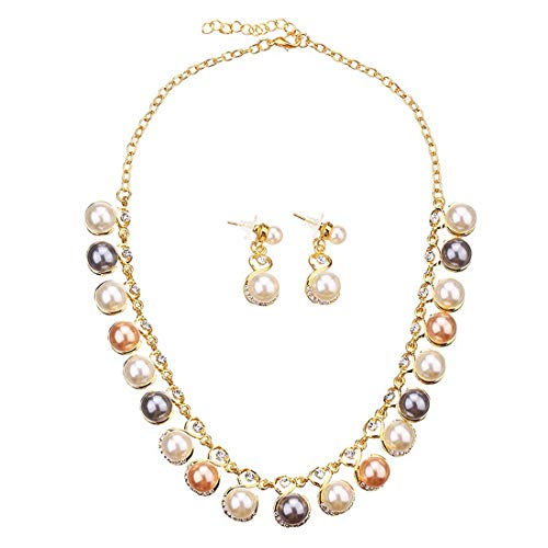 Yellow Chimes Classic Colors Party Ware Necklace Set with Earrings by Yellow Chimes Gold Plated and Pearl Jewellery Set for Women