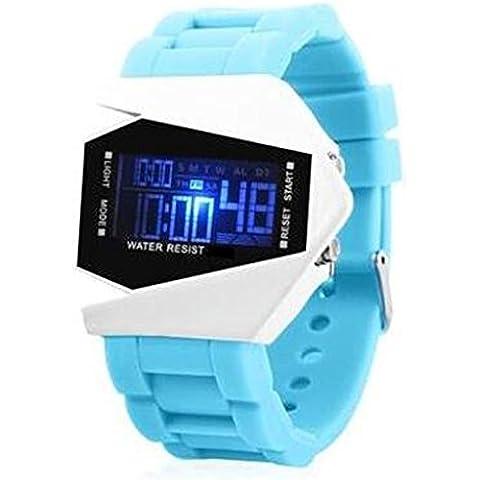 Velivolo Forma Orologio da Polso per Ragazzi Ragazze Orologio Digitale con Calendario Allarme Cronometro e Luminoso - Blu chiaro