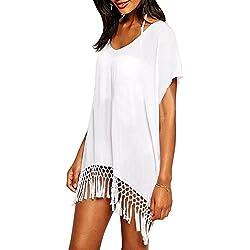 Pareo camisola de playa para poner sobre el bikini y crear la ilusion de curvas perfectas, genial para verano y vacaciones (Blanco)
