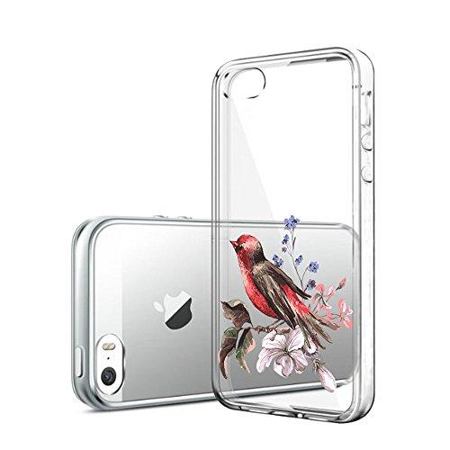 Qissy®Schutzhülle für iPhone 5 5s SE Hülle Case Silikon Hülle Schlank Transparent Weicher Gel Silikon Hülle Hübsches Mädchen und Blumen (iPhone 5 5S SE, 9) 13