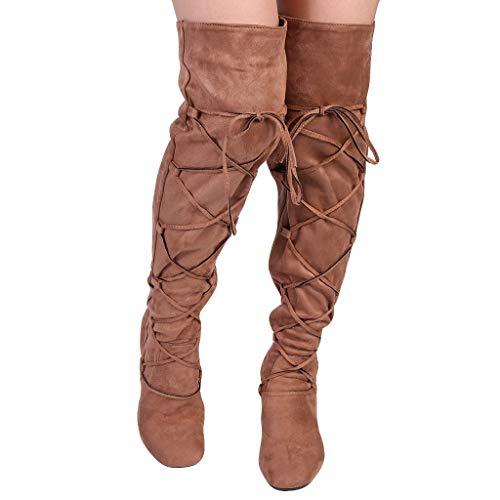 UOMOGO Stivaletti Estivi Donna Stivali Traforato texano Fibbie Tacco Basso Scarpe Tacco Alti Laccio Autunnale Inverno