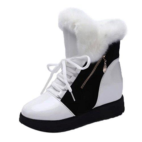 Herbst Winter Schneeschuhe Damen, DoraMe Frauen Pelz Flache Stiefeletten Plüsch Warme Stiefel Baumwolle Schnürstiefel (Weiß, 38)