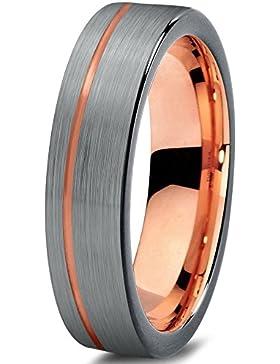Tungsten Wedding Band Ring 4mm for Men Women Black & 18K Rose Gold Pipe Cut Brushed Polished Lifetime Guarantee