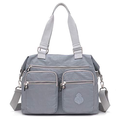 Outreo Schultertasche Designer Handtasche Damen Messenger Bag Umhängetasche Mädchen Taschen Wasserdichte Kuriertasche Sporttasche Reisetasche für Strandtasche Nylon (Grau)