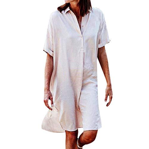 LILIGOD Frauen Casual T-Shirt Kleid Damen Wild Kurzes Kleid Kurzarm Lose Bequem Business-Kleid Solid Color Button Revers Kleid Freizeit Einfach Sommerkleid Elegant Party Kleider (Europäische Wild Man Kostüm)