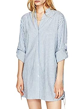 La Mujer Casual Rayas De Manga Larga Botón Abajo Lado Flojo Laced Up Oficina Blusa Camisa Top