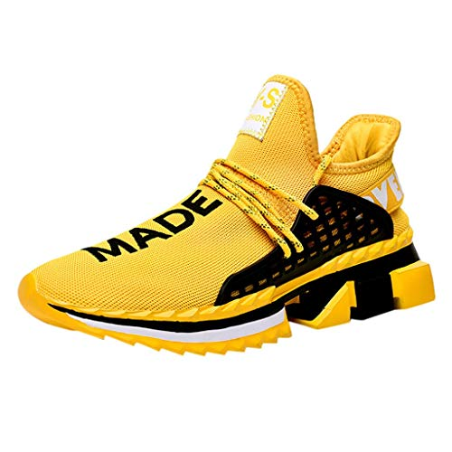 Dtuta Basketballschuhe Herren Unisex Sneakers Jungen Mädchen Sneaker Outdoor Schuhe Jungen Turnschuhe Laufschuhe Schnürer Freizeit Schnürer Sportschuhe Sneaker Größe 39-44 Black White Yellow