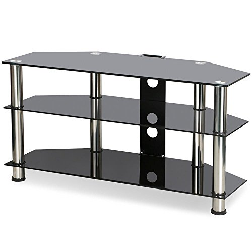 Tinkertonk 3 Tier Black Glass Tv Table Stand For 26 To 60 Inch Plasma Lcd Flat Screen Tvs