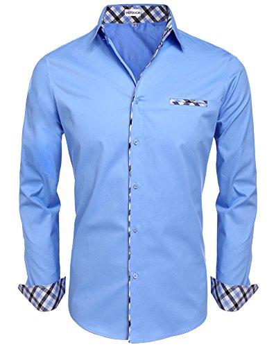 Hotouch uomo camicie cielo blu basic slim fit maniche lunghe di cotone modell xl