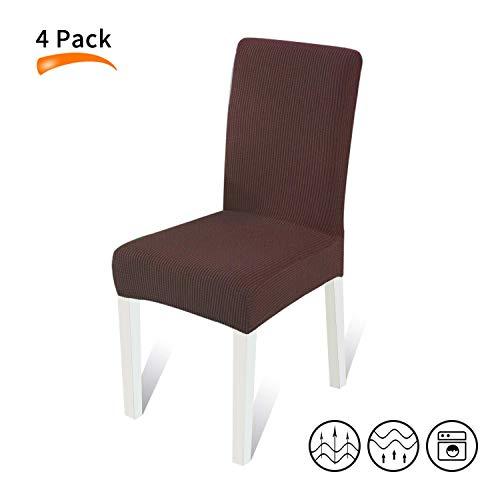 WOOFOO Sitzbezüge für Stühle, 4 Stück, Sitzbezüge für Esszimmerstühle, abnehmbare Schonbezüge für Esszimmerstühle, waschbar, Esszimmerstuhl-Bezüge, Kaffeebraun - 4 Parson Stühle