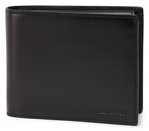 Kalb Box (LEABAGS Illinois Geldbeutel aus echtem Kalbs-Leder im Vintage Look - Schwarz)