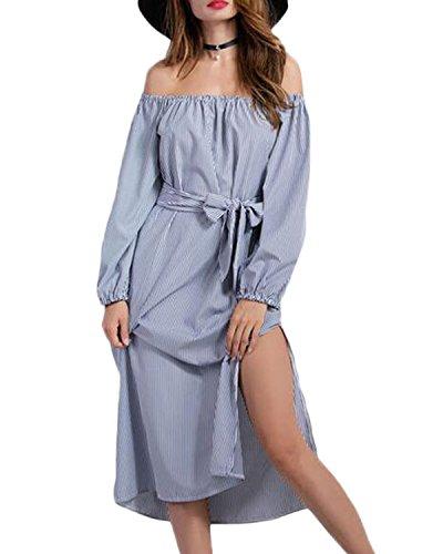 Auxo Femme Sexy épaule Nu Manches Longues Dress Col Bateau Robe Rayée Split Plage Cocktail Long Robe Image