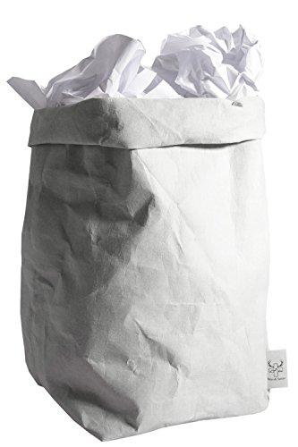 bun-di Swiss® Trash | Dekorativer Designer Papierkorb mit Knitteroptik für Büro, Arbeitszimmer | waschbares Papyr | 12l (Stone) (Designer-körbe)