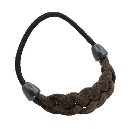 Uteruik chunky capelli sintetici intrecciati fascia classica ampia trecce elastico stretch parrucchino donna accessori bellezza, 55g, rame marrone