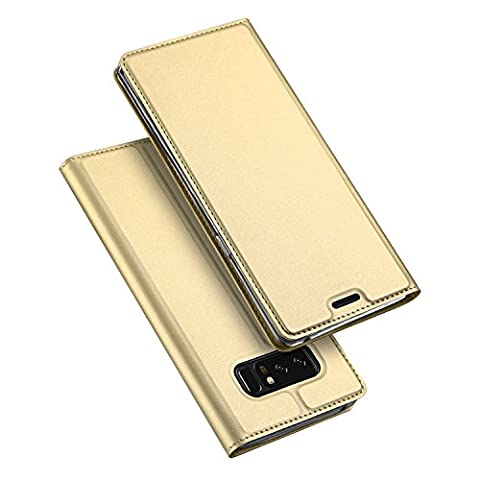 Samsung Galaxy Note 8 Coque,SMTR Ultra-mince Aimant intégré PU Cuir Flip Housse Étui Cover Case Wallet Portefeuille Supporter avec Carte de Crédit Fentes pour Samsung Galaxy Note 8 -d'or