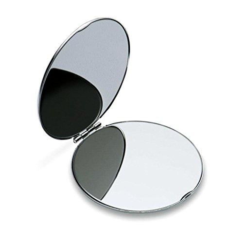 Taschen-Spiegel mit persönlicher Text-Gravur | rund & versilbert | eigenen Spruch gravieren lassen (Hochzeit Geschenk-taschen-ideen)