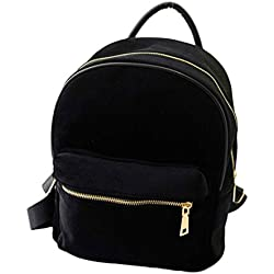 Bolso, Manadlian Mochila de mujer oro terciopelo pequeña mochila mochila escuela libro (Tamaño: 8cmX4cmX24cm, Negro)