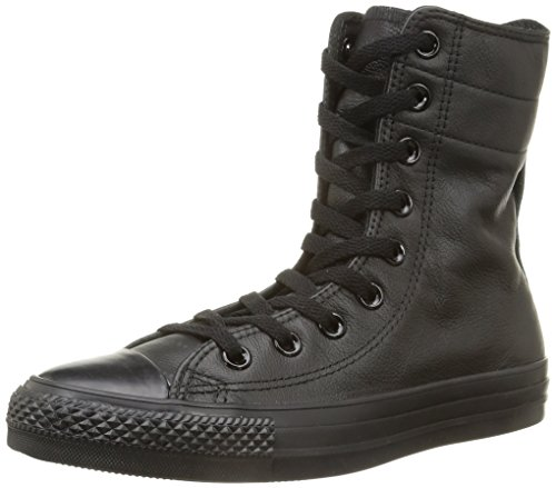 Converse, All Star Hi Rise Leather Sneaker,Donna, Nero (Black Monochrome), (Converse Donna All Star Hi)