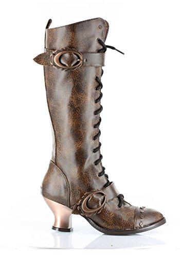HADES Thundra, Vintage, Retro, Vintage-Stil, PU-Leder, zum Schnüren Knie-Stiefel Braun