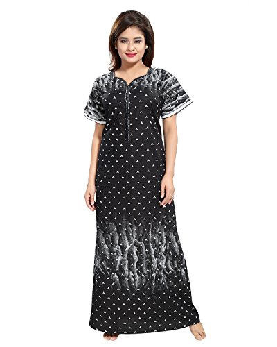 Tucute Cotton Nighty / Night gown / Nightwear / Nightdress A Print with 16\