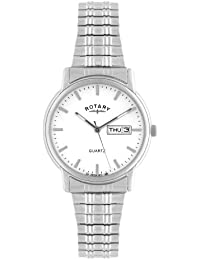 Rotary Men's Quartz Watch with White Dial Analogue Display and Silver Stainless Steel Bracelet GB02762/02