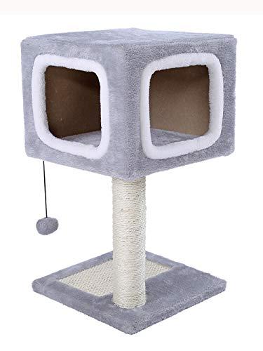 Katze Klettergerüst Grab Spalte Katze Höhle Katzenkratzbrett Katze Springen Tisch Spielzeug Haar Ball Dekoration Grau 31 * 31 * H57Cm ()